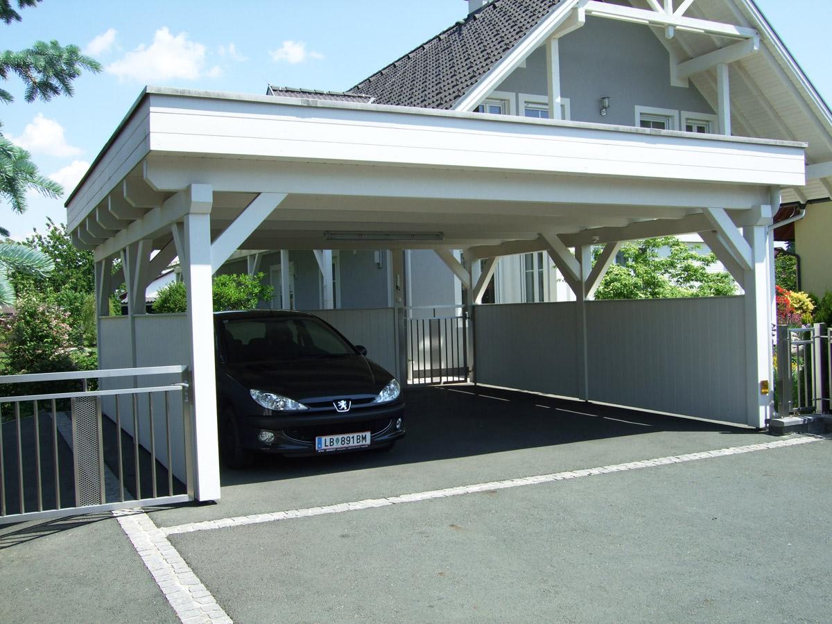 Lappi lappi holzbau aus der steiermark carport for Flachdachhaus mit garage